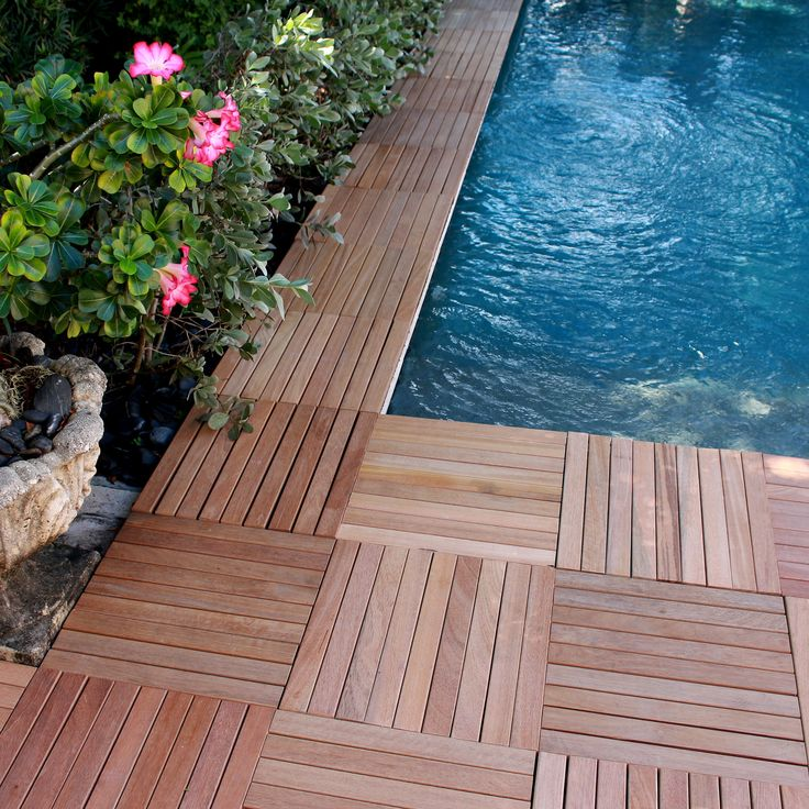 Teak Interlocking XL Series 16 X 16 Inch Real Wood Deck Tiles