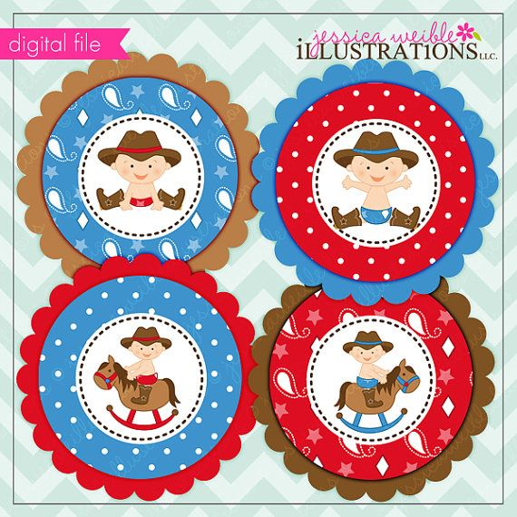 Cowboy Baby Theme Printable Party Tags Cupake By JWIllustrations, $5.00