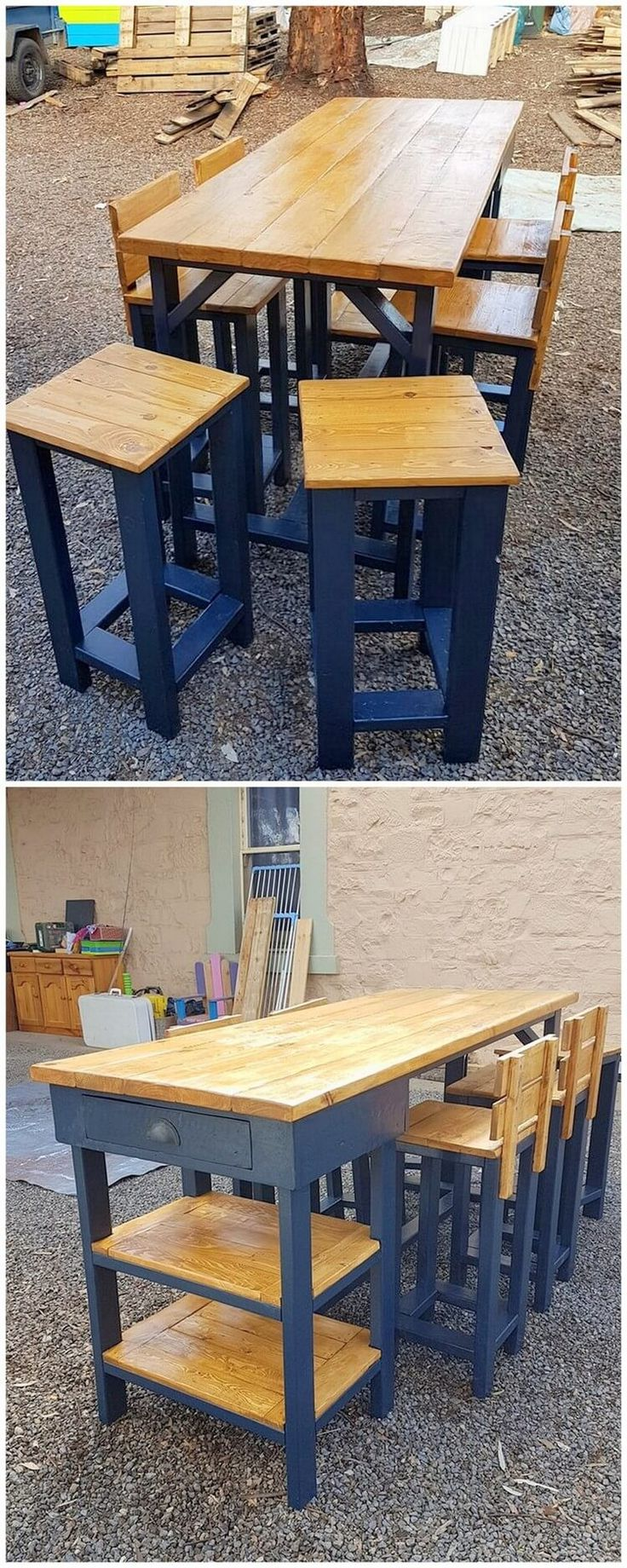 How about having a dining table in your house that is a combination of drawers and chairs? This image of wood pallet dining table is showcasing out the beautiful creation of the wood pallet table set alongside the pairing of the chairs and stools in it. Look closely! What did you found? The table is fitted perfectly with the drawers as well.