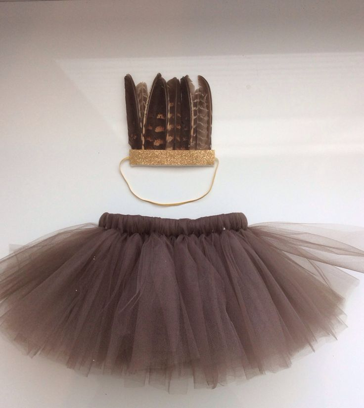 Baby Girl Indian Outfit - Tutu and Feather Headdress - Trendy Gold Glitter by WhimsyLittles on Etsy