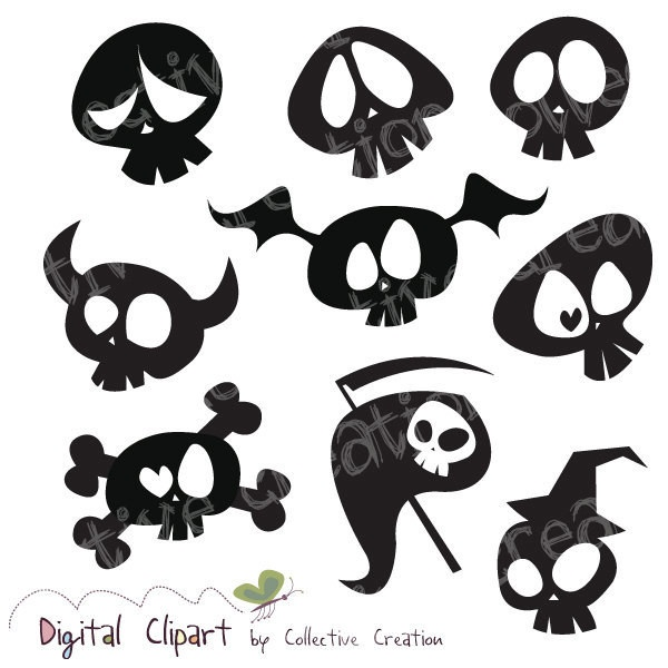 Cute Cartoon Skull Silhouette Clipart Digital Clip Art- Ideal for... ($3.60) ❤ liked on Polyvore