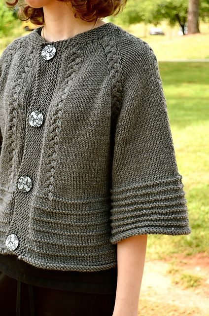Scarletts Cardi - top down with braided cables - pattern by Annie Riley