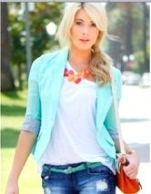 mint blazer outfit - pops of orange