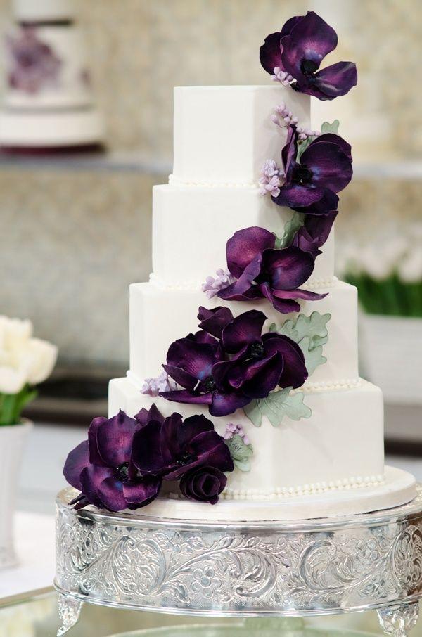 Stunning white & aubergine wedding cake