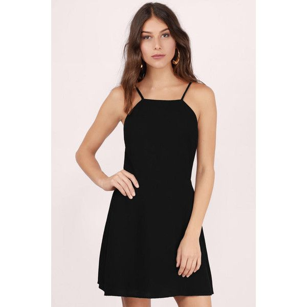 Tobi Simplicity Skater Dress (405 HKD) ❤ liked on Polyvore featuring dresses, black, high neck dress, high neck skater dress, skater dress, strappy skater dress and tobi dresses