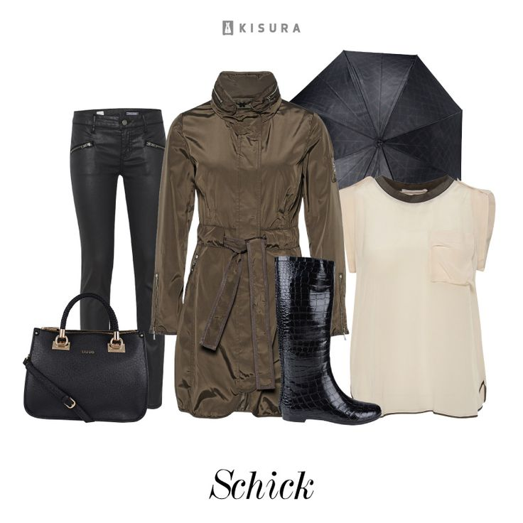 +++ Rain Check +++ khaki-farbene Regenjacke, schwarze Gummistiefel, dunkle Röhrenjeans, Handtasche, edles Shirt // khaki rain coat with belt, black gumboots, dark skinny jeans, black handbag, creme loose fitting shirt