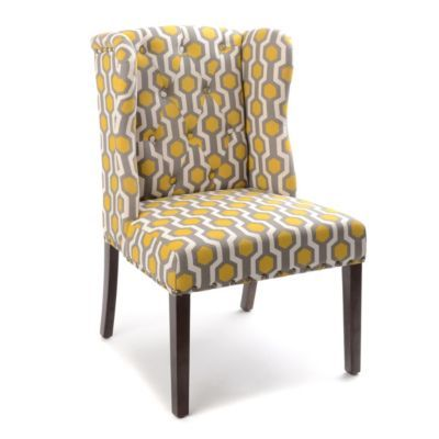 Yellow Gray Geo Print Wingback Accent Chair Gray