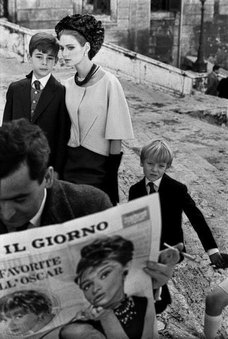 Frank Horvat for Harpers Bazaar, High Fashion with Deborah Dixon, 1962, Rome.