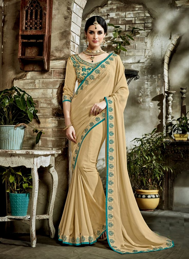Online shopping in india for women for clothing, sarees. Buy this majesty faux georgette brown saree.