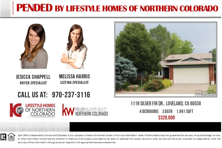Our Buyer's offer has been accepted by the seller of the home on 1119 Silver Fir Dr., Loveland, CO neighborhood! We have attracted several additional buyers to this area, if you are considering selling your home, Call us today at 970-237-3116 and join our sellers who receive on average $5000 MORE MONEY at closing. You may email us at Worldwide@theKristanColeNetwork.com too. If you're just curious of your home's value, you can check it out here-> http://instanthousevaluenow.com/