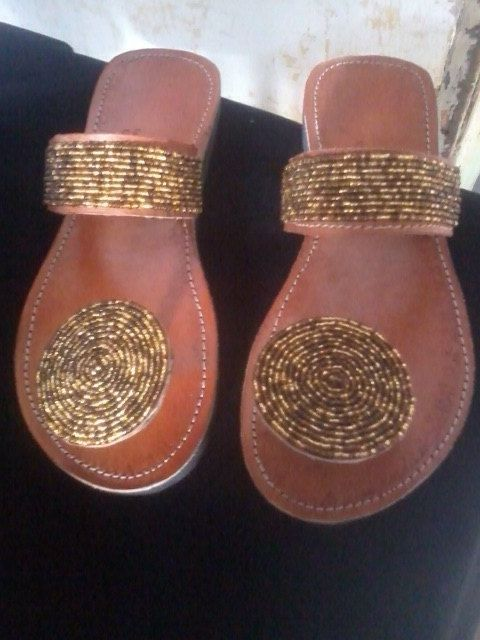 Golden Girl - African Kenyan Colourful Handmade Leather Beaded Sandals, Flip-Flops, Thongs