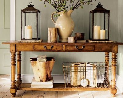 sofa table & lanternsSofa Tables, Wall Colors, Decor Ideas, Entry Tables, Consoles Tables, Sofas Tables, Wire Baskets, Front Entry, Pottery Barn