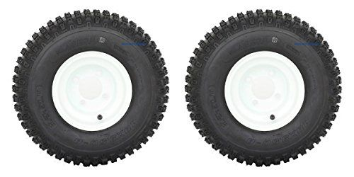 "Slasher Knobby 18x9.50-8"" Golf Cart Tires / ATV Tires and 8"" White Steel Golf Cart Wheel Combo - Set of 2. For product info go to:  https://www.caraccessoriesonlinemarket.com/slasher-knobby-18x9-50-8-golf-cart-tires-atv-tires-and-8-white-steel-golf-cart-wheel-combo-set-of-2/"