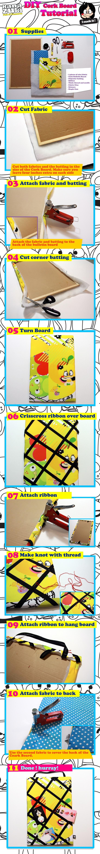Hanazuki DIY Fabric Covered Cork Board.