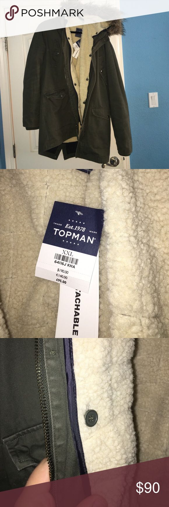 TOPMAN PARKA hardly used parka with detachable fur on hood and detachable lining (fur inside). very warm, very cozy. fits XL Topman Jackets & Coats Pea Coats