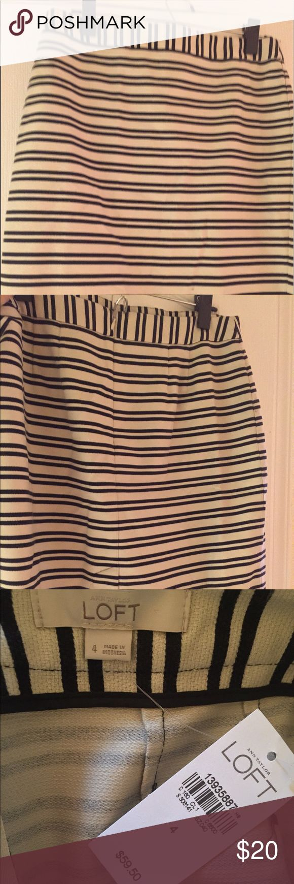 Ann Taylor Loft Navy Striped Skirt - Size 4 New with tags! Skirt from Ann Taylor Loft.  The stripes are super dark navy (they almost look black)!  Size 4.  Sturdy, thick material.  98% cotton/algoden, 2% nylons LOFT Skirts