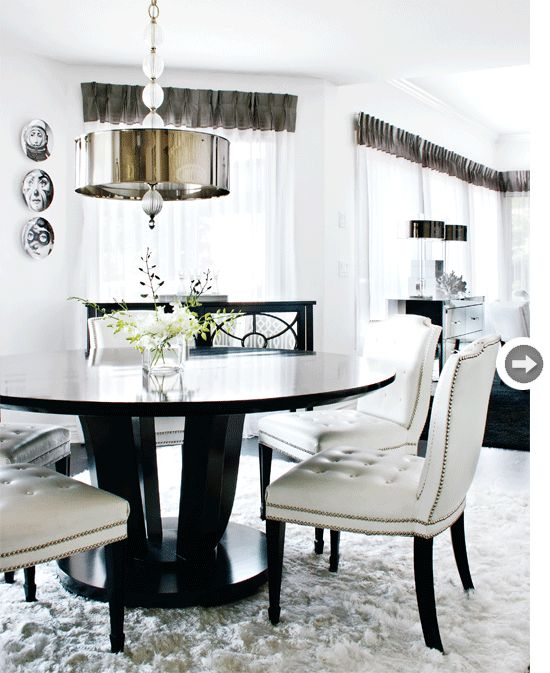Not sure about the shag rug crumb-catcher under the table but the rest is just stunning!  Via Style At Home