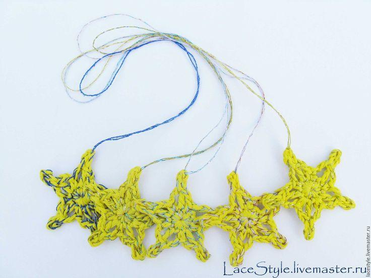 Купить Звезды вязаные. Новогодний декор - блестящий, блестящая звезда, набор звезд, звезда на елку