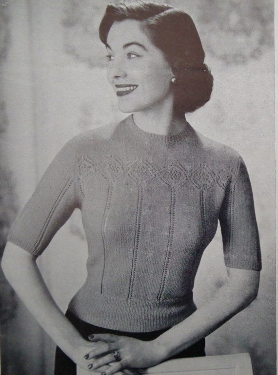 Vintage 40s 50s knitting patterns - womens jumpers /sweaters - original pattern  Knitting booklet published by Patons and Baldwins Limited, (UK) Slim stapled booklet - approx. 5 1/2 x 8 (approx. 14 cm x 20.5 cm) - 12 pages (including cover) Undated but probably published during the late 1940s or early 1950s Features patterns for three womens sweaters / jumpers - all knitted in a fine yarn (vintage UK 2 ply or equivalent) Instructions for the striped sweater are available in a c...