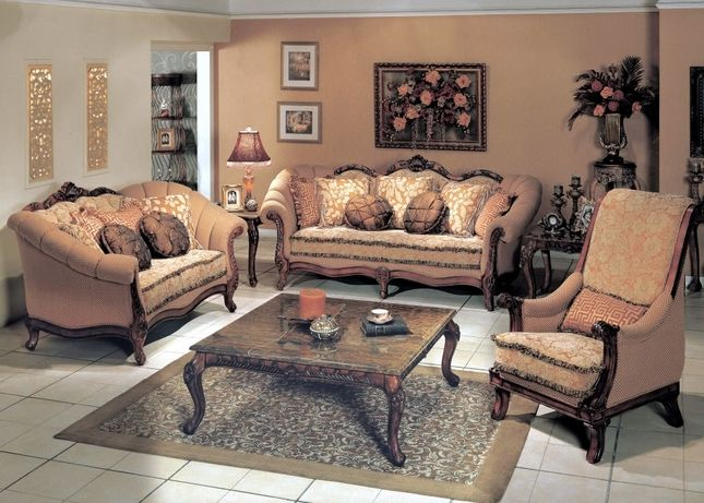Callaway traditional luxury formal upholstered furniture for Formal luxury living room sets