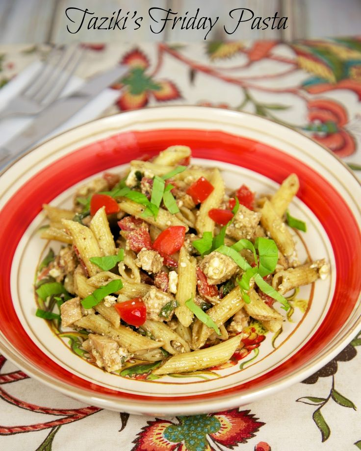 #Copycat Taziki's Friday Pasta - Greek Chicken Pasta - the vinaigrette is so delicious!