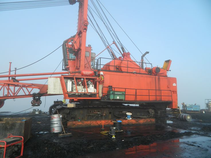 Prima provides #Generator Sales and Services for all types of industrial businesses! Here we have ANSERMAN doing a repair on a crane's generator that sits on a barge for AMIX Heavy Lift. These huge orange machines are used to move logs from the land to the barge.