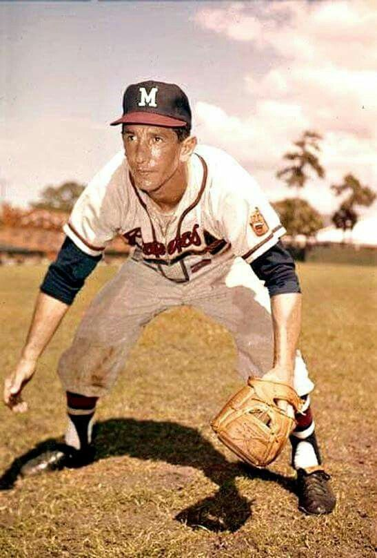 Billy Martin, excited that he's finally playing where the beer is, with the Milwaukee Braves - 1961  The stint would only last two months, as he would be traded to the Twins on June 1st.  His final game as a player would occur that October 1st, against Detroit.