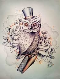 owl tattoos - Sir owler | Put a branch where the book is and no top hat or eye glass. Like that its showing his side instead front