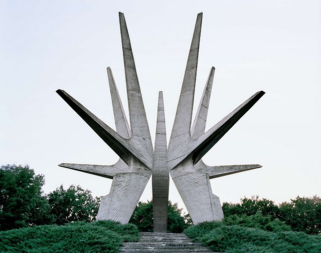 """""""These structures were commissioned by former Yugoslavian president Josip Broz Tito in the 1960s and 70s to commemorate sites where WWII battles took place (like Tjentište, Kozara and Kadinjača), or where concentration camps stood (like Jasenovac and Niš). They were designed by different sculptors (Dušan Džamonja, Vojin Bakić, Miodrag Živković, Jordan and Iskra Grabul, to name a few) and architects (Bogdan Bogdanović, Gradimir Medaković...), conveying powerful visual impact to show the confi..."""