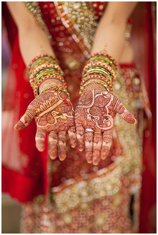 Mehndi on bride's palms on IndianWeddingSite.com. Photo by SYPhotography.com