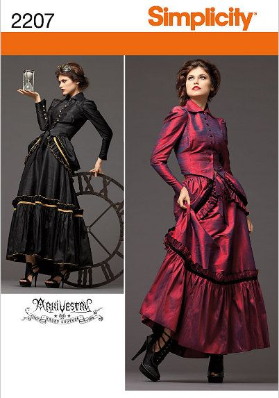 Plus size Steampunk Victorian Era Dress Costume Sewing Pattern Simplicity 2207 Sizes 14, 16, 18, 20 UNCUT. $7.00, via Etsy.