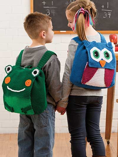 Animal Backpacks Crochet Pattern Download from e-PatternsCentral.com -- Your favorite little boy or girl will love these supercute critters to carry their school-day necessities.