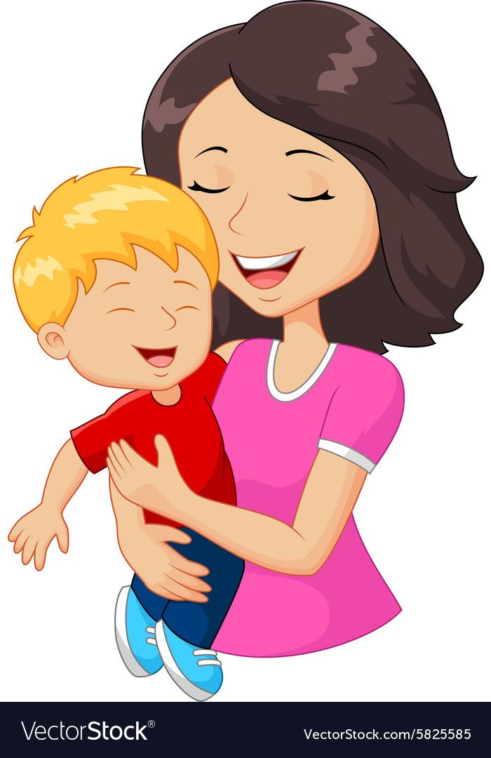 Cartoon Happy Family Mother Holding Son Vector Image On Vectorstock Cartoon Family Cartoon Drawing For Kids