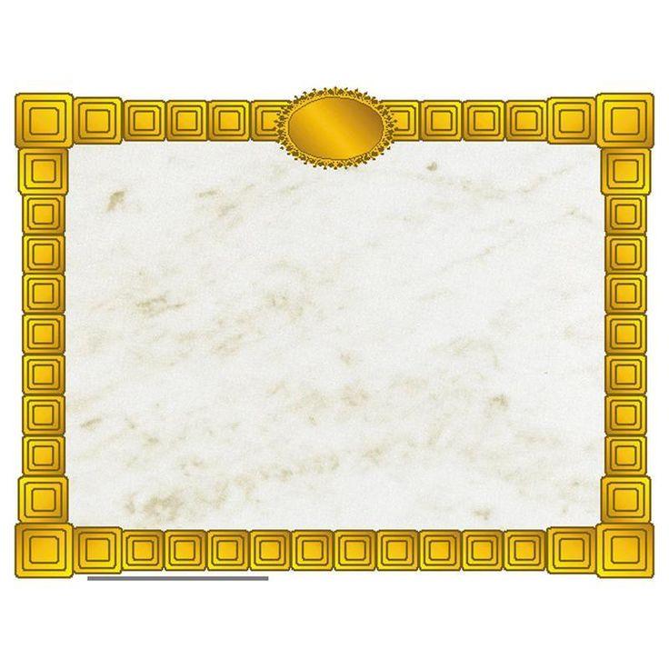Gold Block Certificate Border Computer Paper