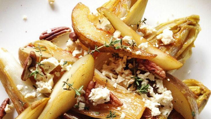 Recept: Lauw warme salade van gekarameliseerde witlof – Miss Havermout
