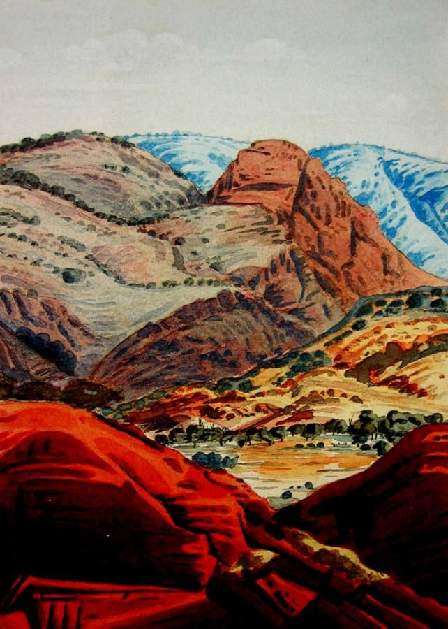 View of Ranges, Northern Territory, watercolour on paper, signed lower right: Albert, 35 x 25 cm