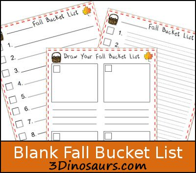Free Blank Fall Bucket List - 3Dinosaurs.com