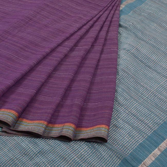 Buy online Handwoven Purple Linen Cotton Saree With Stripes &  Multicolour Border 10013797