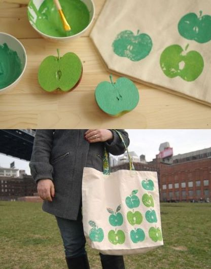 Teacher Appreciation Gift:  Decorate a canvas tote bag - the link is broken but the photos look pretty self explanatory.