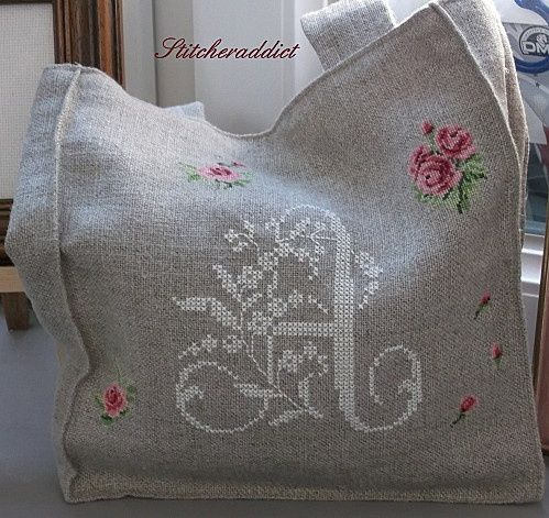 cross stitch monogram on tote