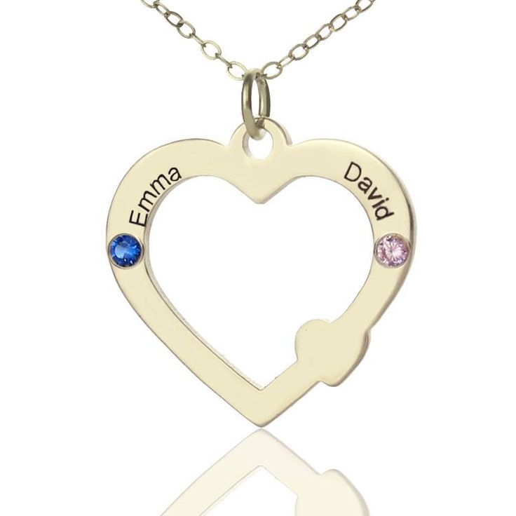 Sterling Silver Engraved Heart with Birthstone name necklace