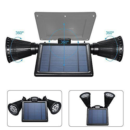 Outdoor Solar Lights 2 Spotlights Waterproof 360 Rotate Wall Yard Garden Garage  #SolarSolutions