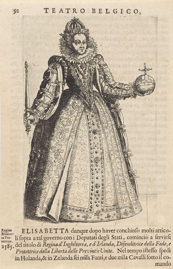 anoniem   Portret van Elizabeth I Tudor, koningin van Engeland, copy after Christoffel van Sichem (I), in or before 1690   Portret van Elizabeth I Tudor, koningin van Engeland. Zij draagt een kroon op het hoofd en in haar handen een rijksappel en een scepter. Onder en boven de prent tekst in boekdruk.