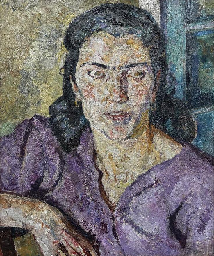 Mela Muter: Portret kobiety w fioletowej bluzce olej, sklejka, 45,5 × 39 cm sygn. l. g.: Muter
