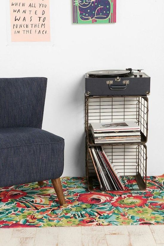 Shelving Storage | Record Player Stand | Vintage Decor | Milk Crates | Upcycle Ideas | Interior Design