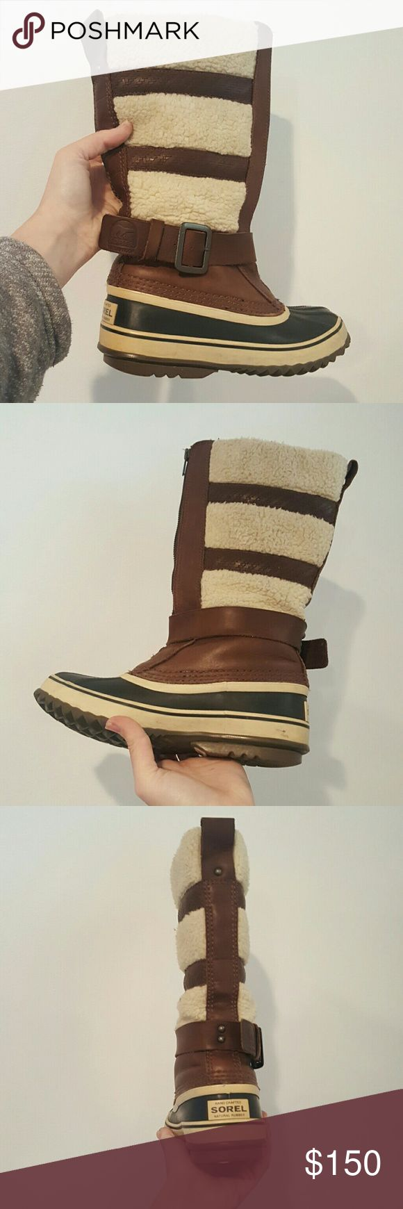 SOREL HELEN OF THE TUNDRA SIZE 5 WOMENS BOOTS SOREL HELEN OF THE TUNDRA BROWN SHEARLING ZIP UP WATERPROOF RAIN AND SNOWBOOTS SIZE 5 EUC WORN ONCE Sorel Shoes Winter & Rain Boots