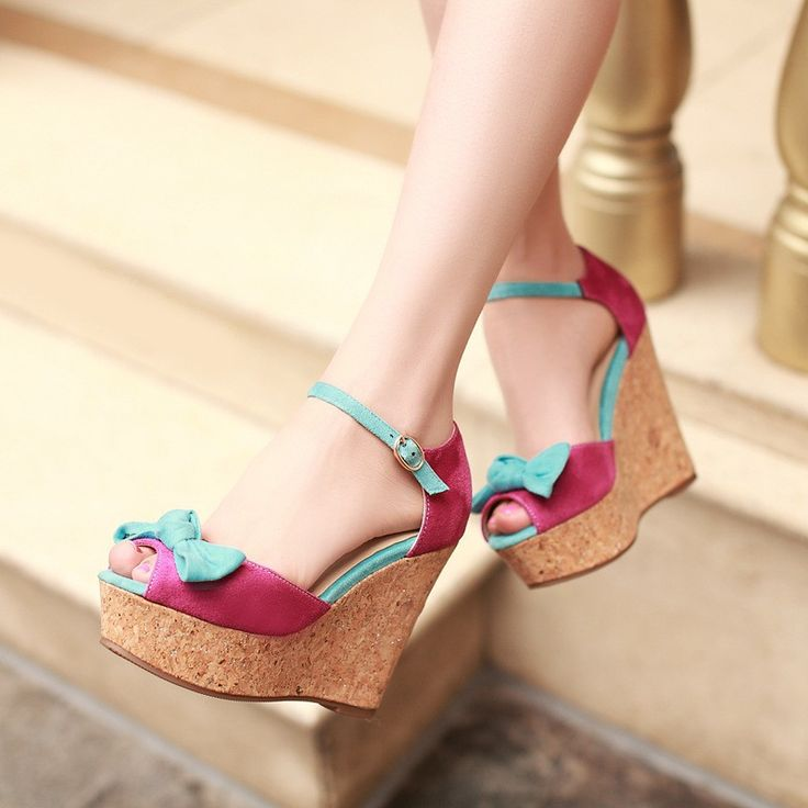 Bowtie Platform Sandals Ankle Straps Wedges Women Pumps High Heels Shoes Woman