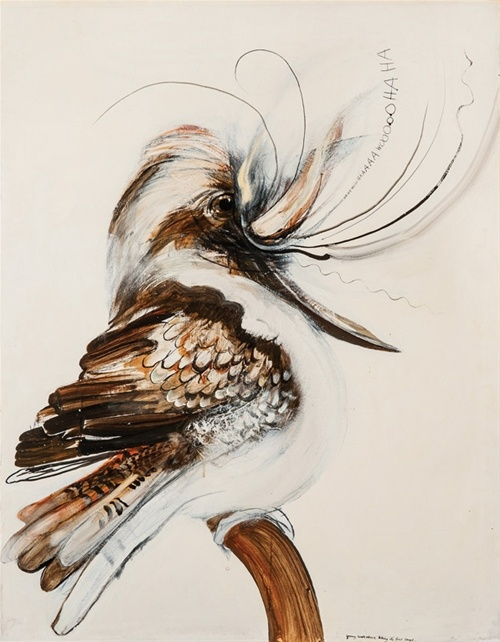 """Young Kookaburra taking its first laugh "" by Brett Whiteley Mossgreen Auctions (Art Auctions), Melbourne"