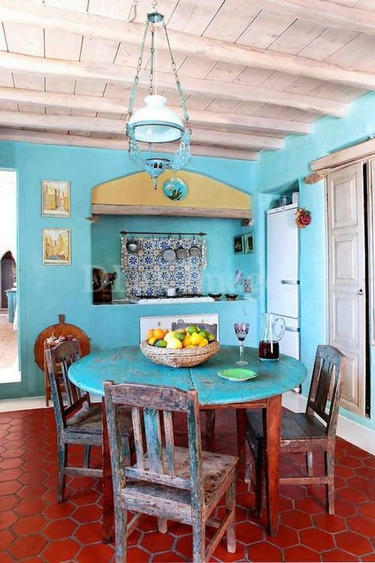 Dining Room , Mexican Dining Room Decor : Mexican Dining Room With Blue Walls And Ethnic Lighting Over Round Dining Table And Chairs