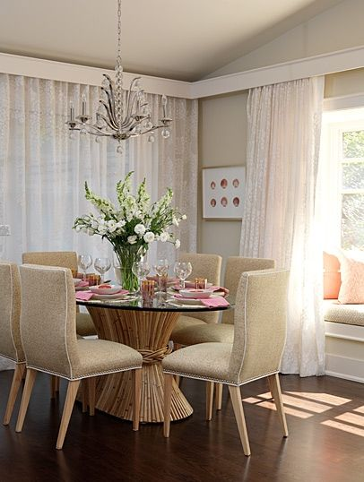 I like sarah's use of the board as a cornice/valance for the sheers ... LOVE the cole chairs w/contrast trim & nailhead detail  http://www.sarahrichardsondesign.com/portfolio/project/sarahs-house2/dining-room